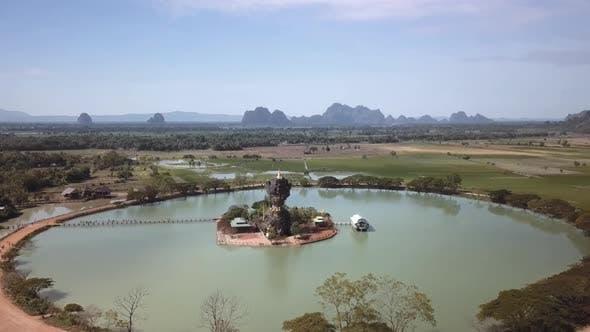 Aerial Shot of the amazing Kyauk Ka Lat Pagoda in Hpa-An, Myanmar