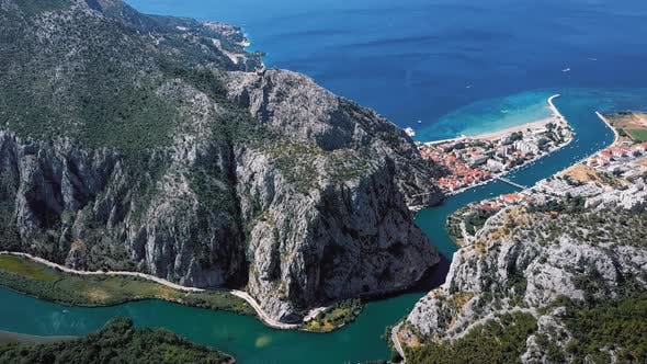 Thumbnail for Flying Over Omis Town, Dalmatian Coast, Croatia