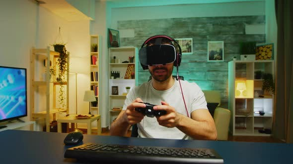 Thumbnail for Pov of Angry Young Man Wearing Virtual Reality Headset